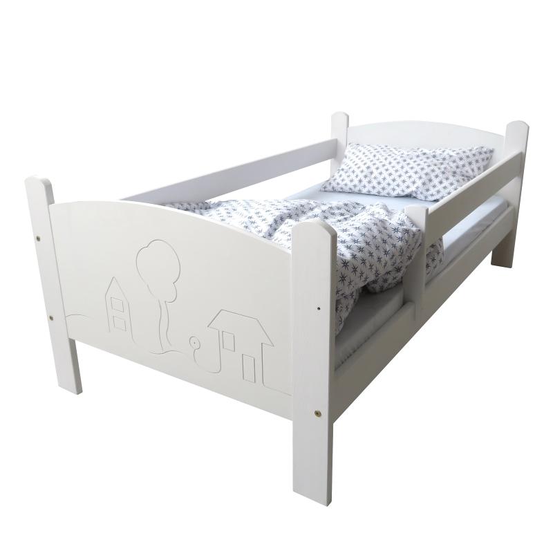 Kinderbettenwelt 'Häuschen' Kinderbett 80x160 cm, Weiß, inkl. Rollrost, Matratze und Schublade Bild 1