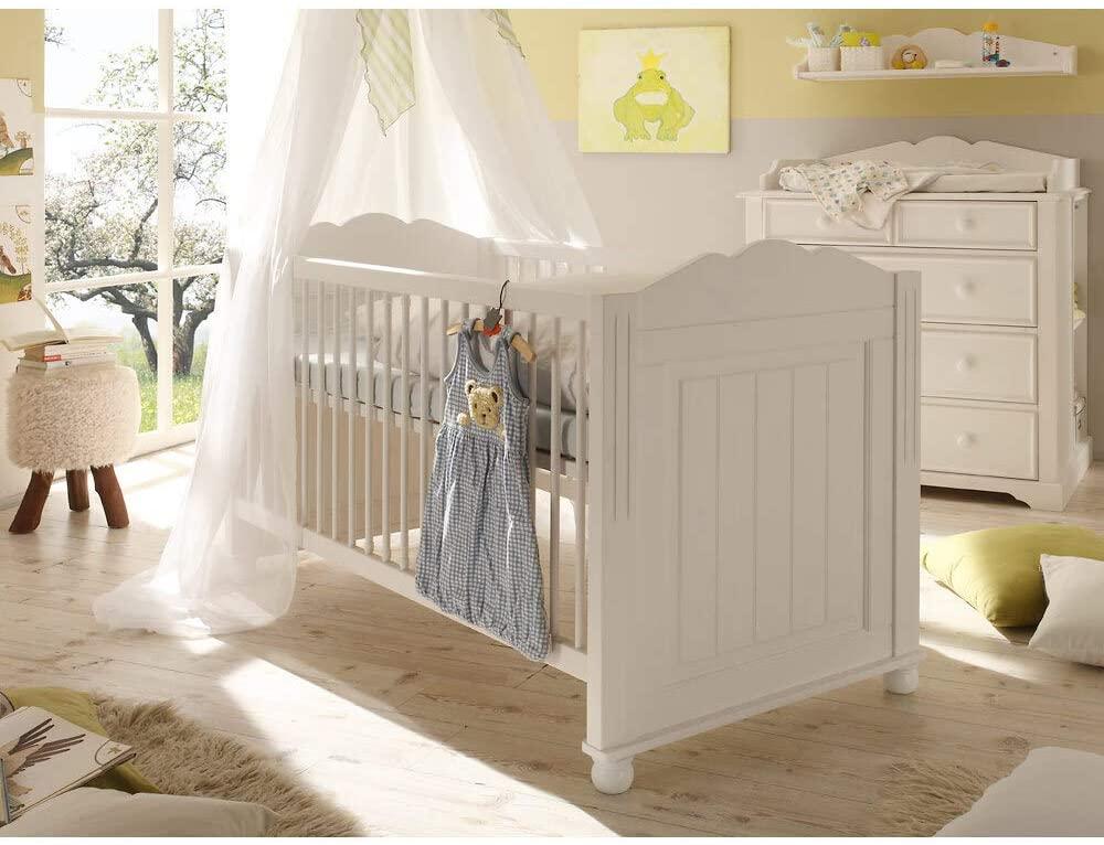 Lomadox Babyzimmer Set Landhaus mit Babybett, Wickelkommode und Regal, massiv, weiß lackiert, 5-teilig Bild 1