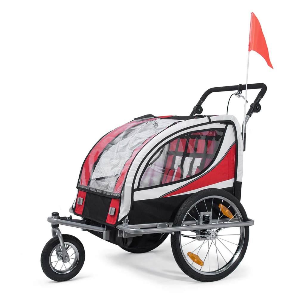 SAMAX Fahrradanhänger Jogger 2in1 360° drehbar Kinderanhänger Kinderfahrradanhänger Transportwagen vollgefederte Hinterachse für 2 Kinder in Rot - Silver Frame Bild 1