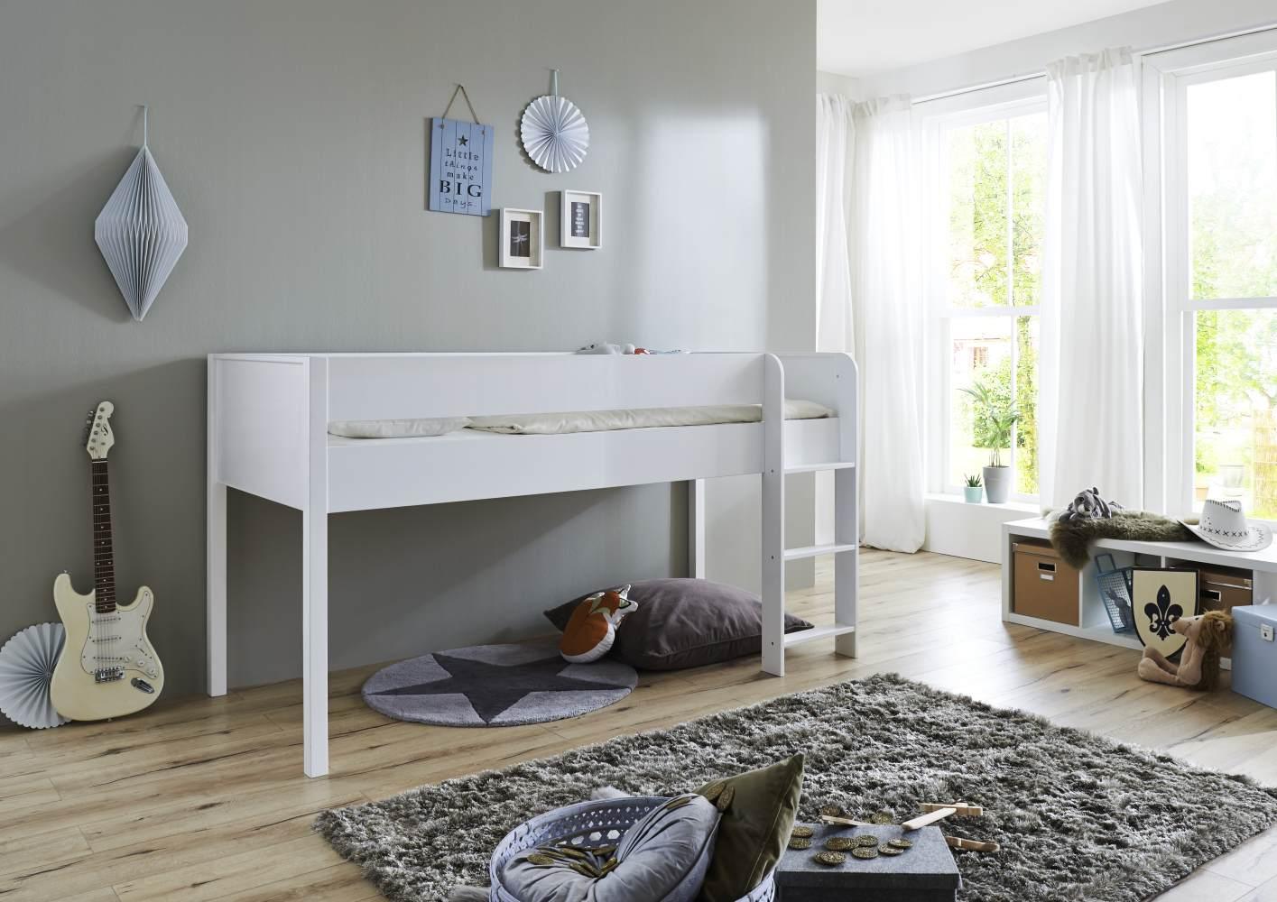 Relita 'Luka' Halbhochbett, Weiß, 90x200 cm, inkl. Rollrost Bild 1