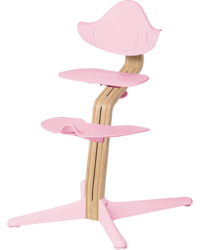 Evomove 'Nomi' Hochstuhl (Mittelsäule + Kunststoffelemente) weiß geölt, pale pink Bild 1