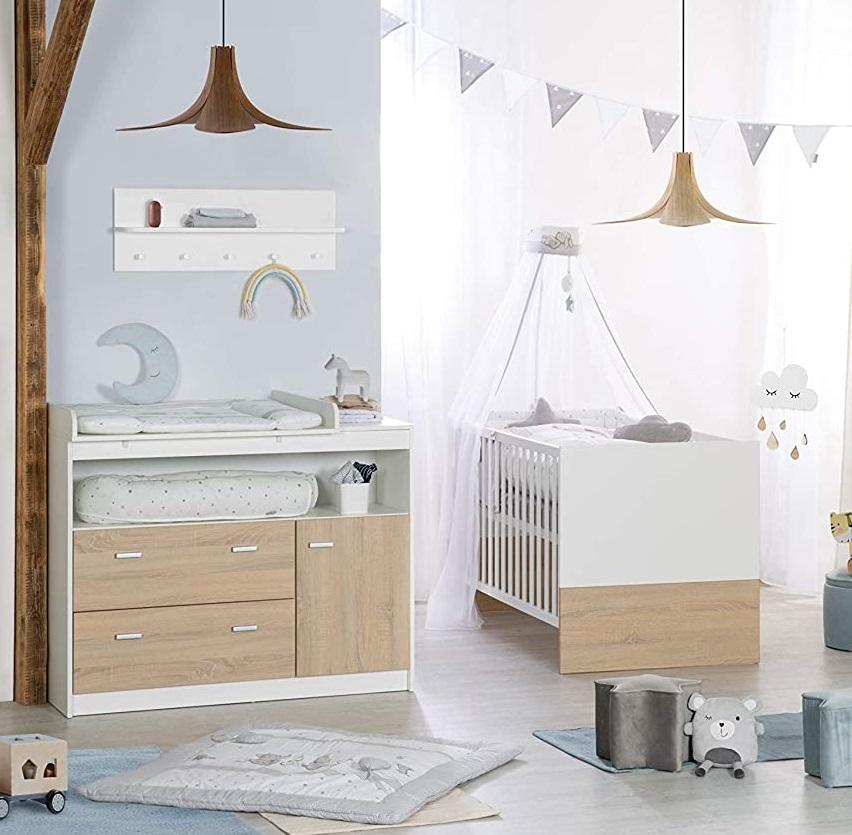 Roba 'Gabriella' 2-tlg. Kinderzimmerset, natur/weiß, inkl. Kinderbett und Kommode (groß) Bild 1
