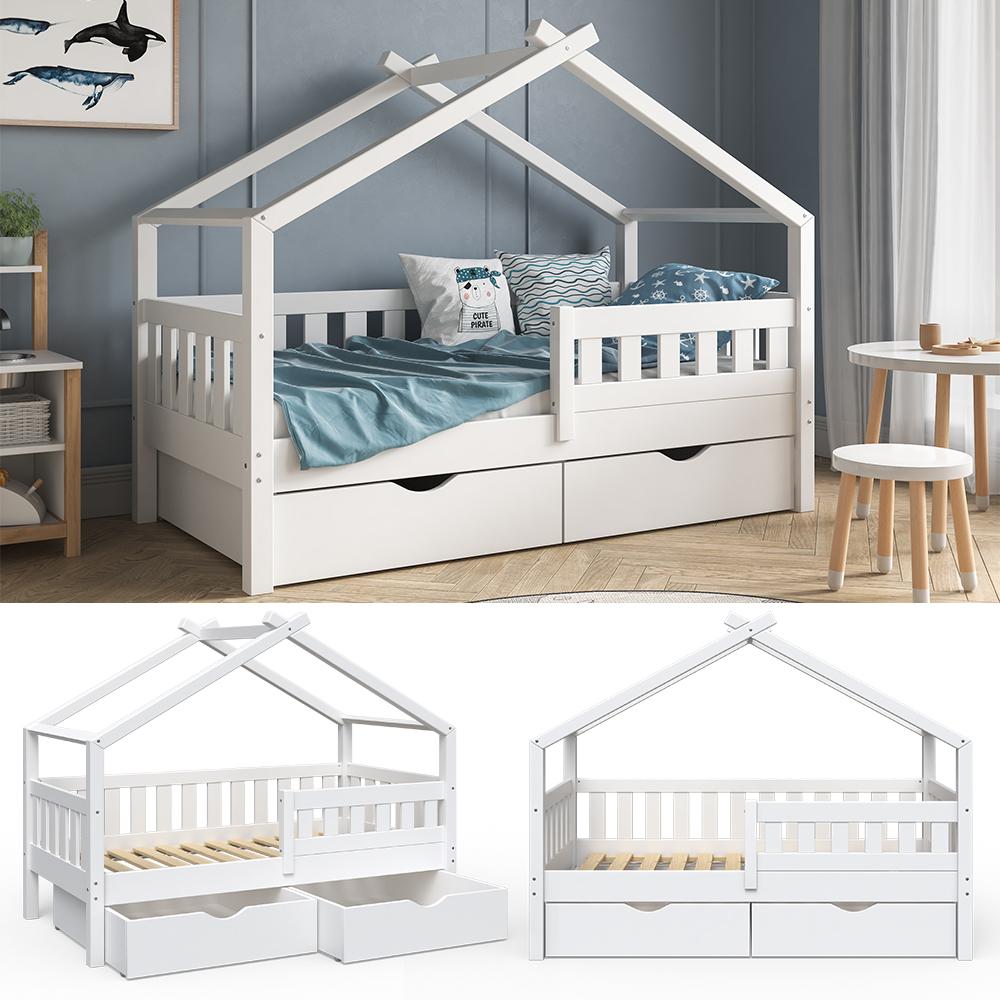 VitaliSpa 'Design' Kinderbett 80 x 160 cm, weiß, Massivholz Kiefer, inkl. 2 Schubladen Bild 1