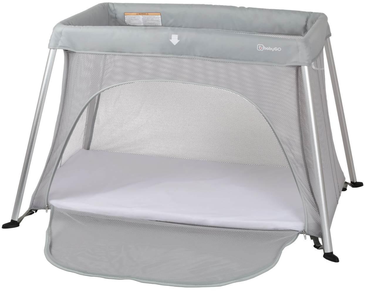 BabyGO 'Dreams' Reisebett, grau, zwei Liegehöhen, inkl. Matratzen 60x100 und 50x80 cm Bild 1