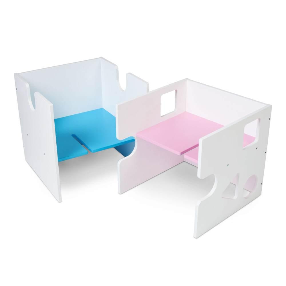 Babybay 'Babycube' Würfel seidenmatt weiß mit rosa/blau Sitzfläche Bild 1