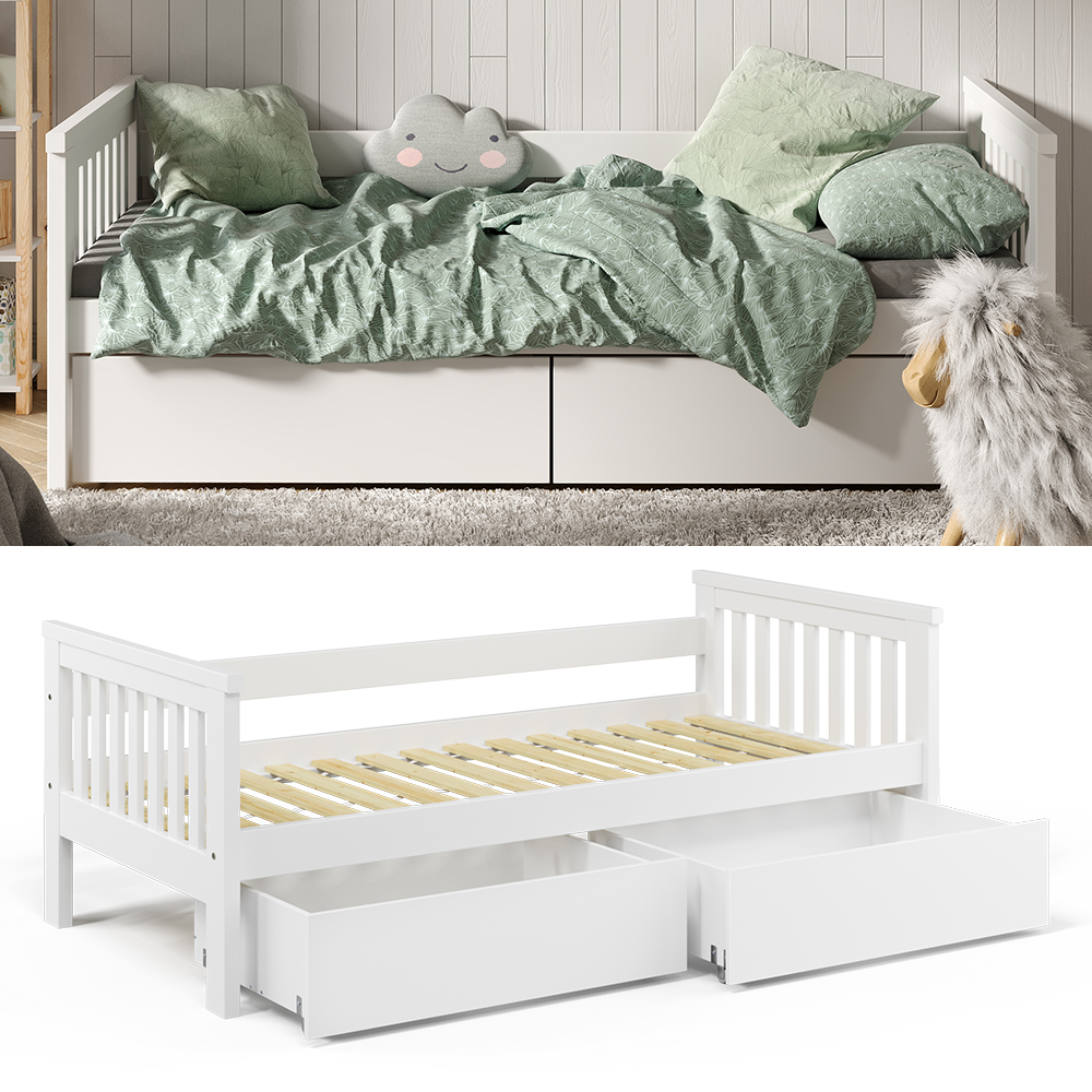 VitaliSpa 'Luna' Kinderbett, weiß, 90x200cm, inkl. Bettschubladen Bild 1