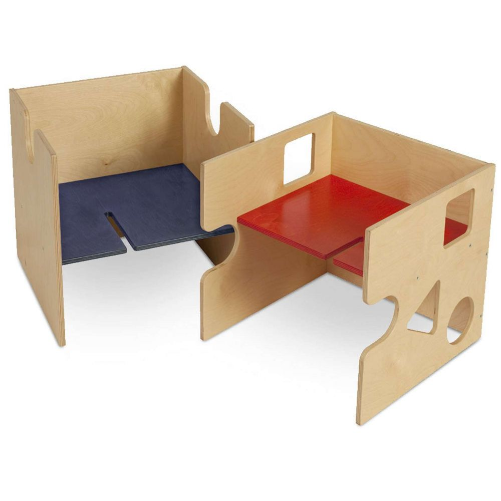 Babybay 'Babycube' Würfel natur mit rot/blau Sitzfläche Bild 1