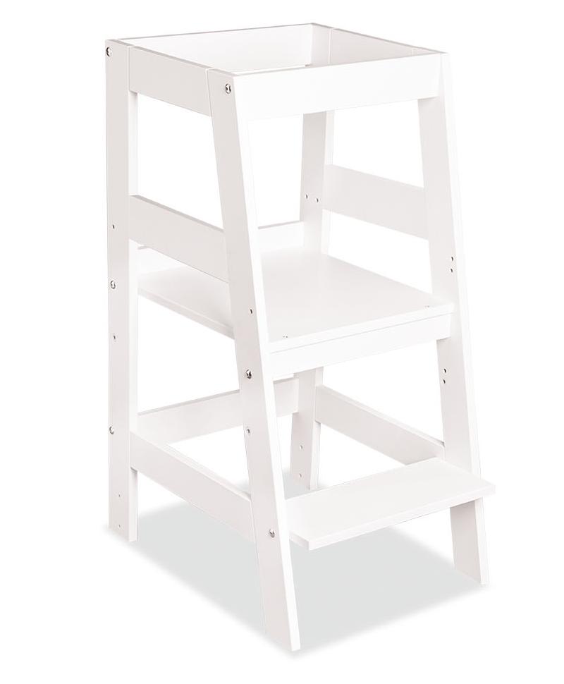 Bellabino 'Pim' Lernturm, Tritt 3-fach höhenverstellbar, Buche lackiert weiß, Massivholz Bild 1