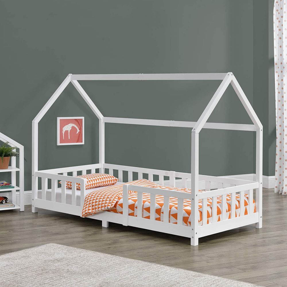 en.casa 'Sisimiut' Hausbett 90x200 cm, weiß, Kieferholz, inkl. Rausfallschutz und Lattenrost Bild 1