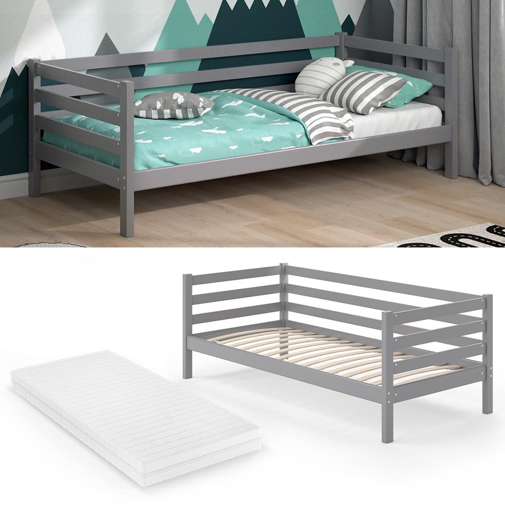 VitaliSpa 'DARCY' Kinderbett 90 x 200cm grau, inkl. Lattenrost und Matratze Bild 1