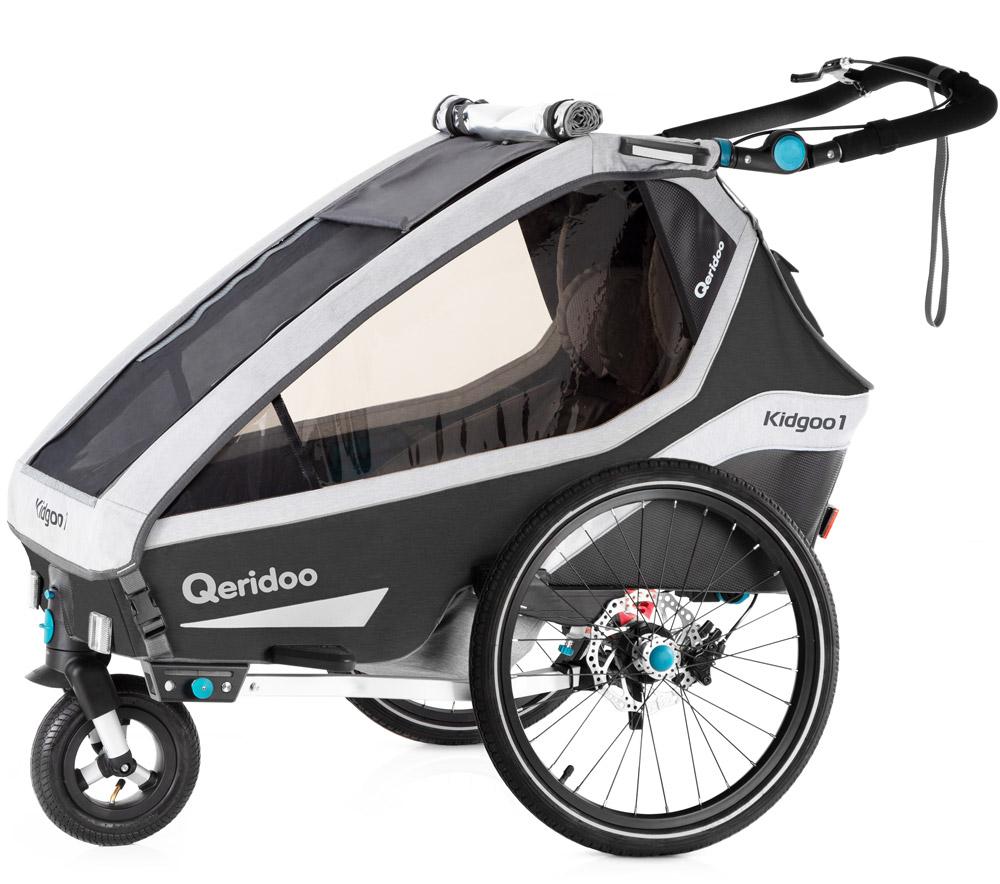 Qeridoo 'Kidgoo1 Pro' Fahrradanhänger 2020 Dunkelgrau, 1-Sitzer, inkl. XXL Kofferraum, Verdeck, 360°Grad-Belüftungssystem Bild 1