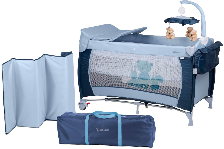 BabyGO 'Sleeper deluxe' Reisebett 60x120 cm, blau, mit Matratze, Wickelauflage, Mobile und Schlupf Bild 1