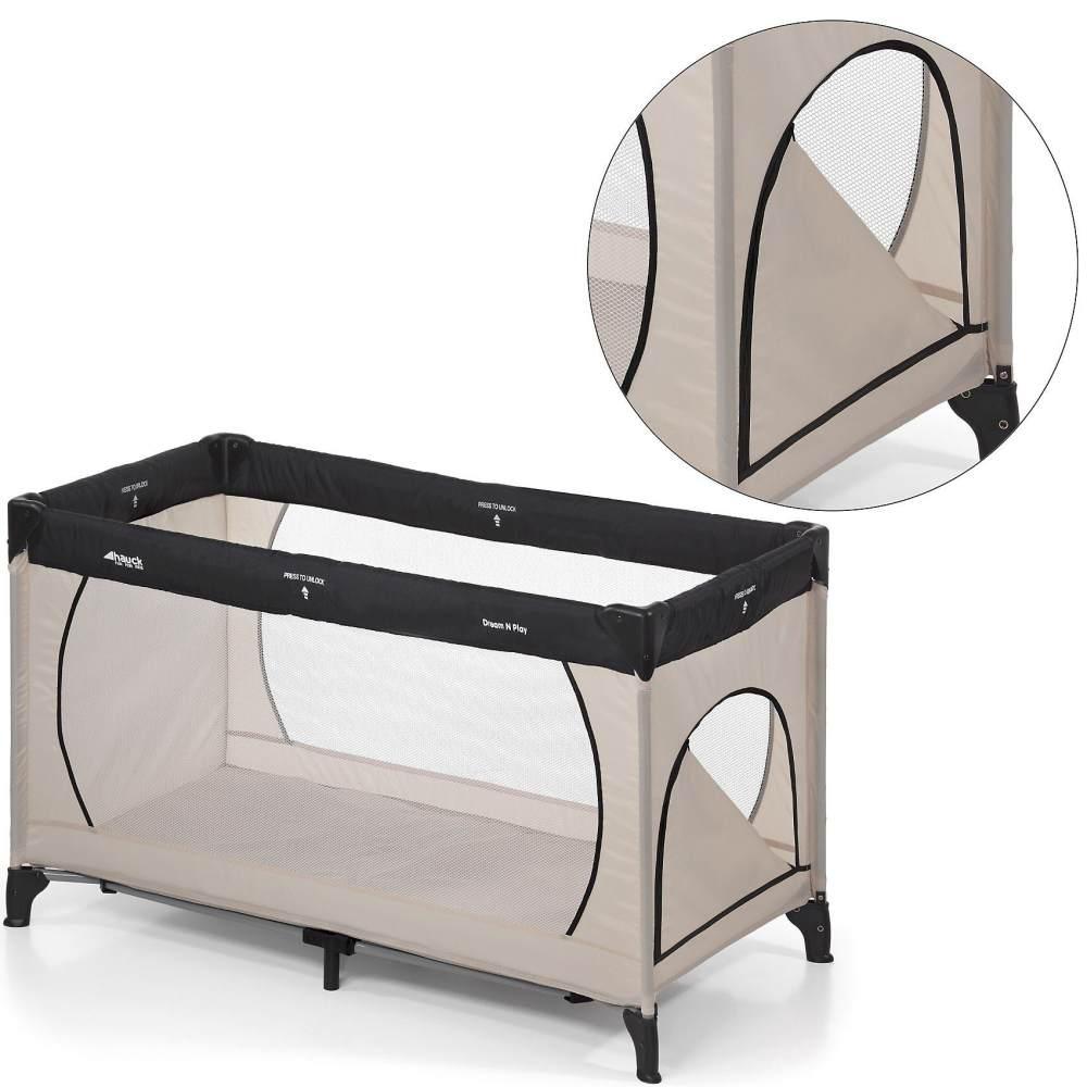 Hauck 'Dream'n Play Plus' Reisebett 3-teilig beige, 60 x 120 cm, ab Geburt bis 15 kg, inkl. Tragetasche, Einlageboden und Schlupf Bild 1
