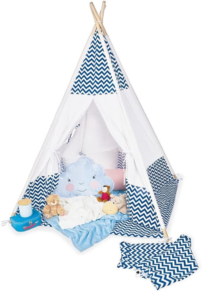 Pinolino 'Dakota' Tipi, mit Fenster, Bodenmatte und Aufbewahrungsbeutel, blau weiß Bild 1