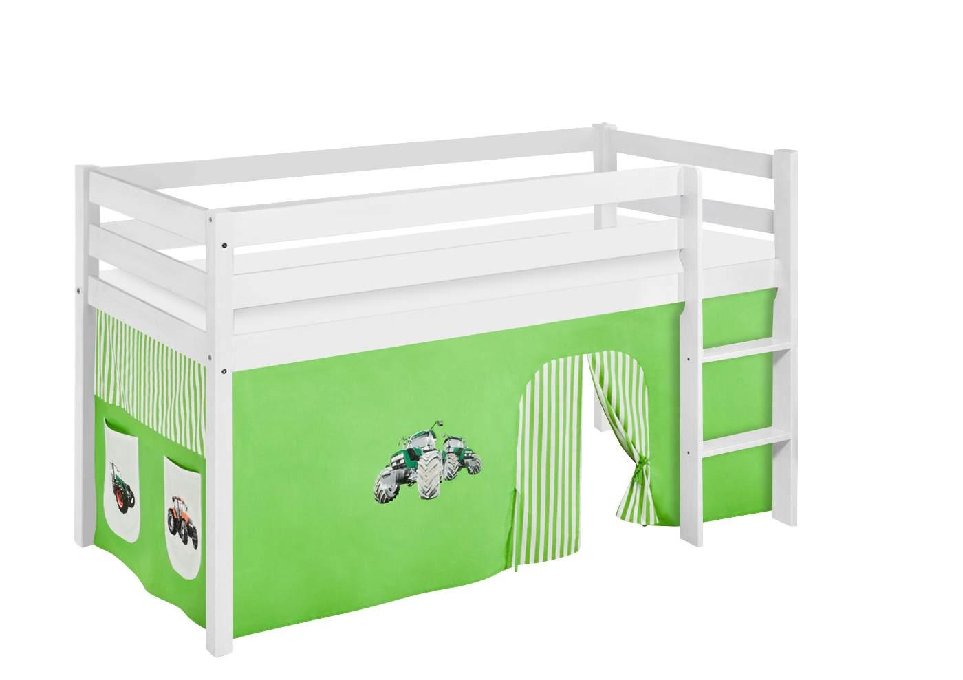 Lilokids 'Jelle' Spielbett 90 x 200 cm, Trecker Grün Beige, Kiefer massiv, mit Vorhang Bild 1