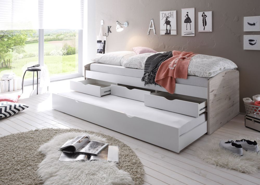 Bega 'Clara' Funktionsbett 90 x 200 cm, beige weiß, inkl. ausziehbarer Gästeliege, 3 Schubladen Bild 1