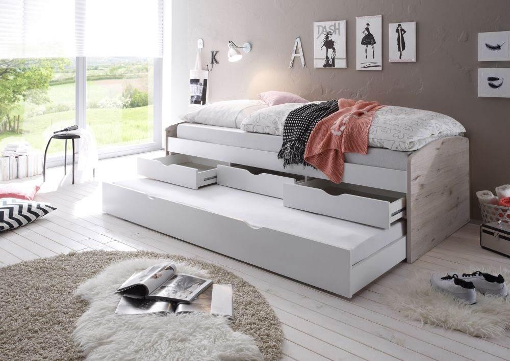 Bega 'Clara' Funktionsbett 90 x 200 cm, beige weiß, inkl. ausziehbarer Gästeliege, 3 Schubladen, Lattenrost, Matratze (pink) Bild 1