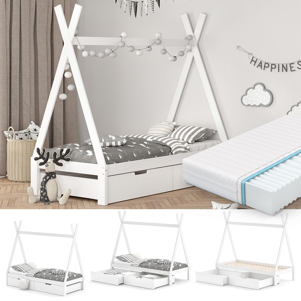 VitaliSpa Tipibett, Weiß, 90 x 200 cm, höhenverstellbar, inkl. Lattenrost, Matratze und Schubladen-Set, Buche massiv Bild 1