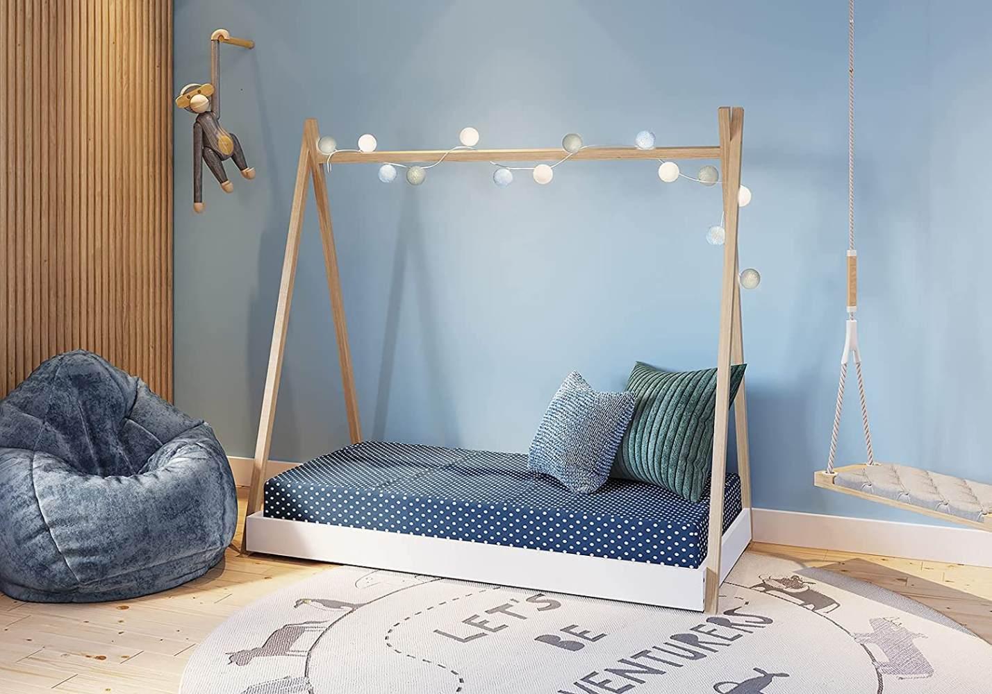 FabiMax 'Tipi' Kinderbett, 80 x 160 cm, weiß/natur, Kiefer massiv, inkl. Lattenrost und Matratze Classic Bild 1