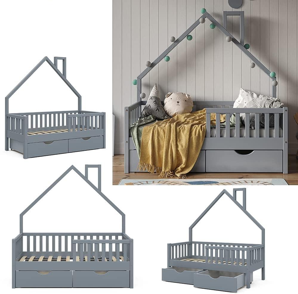 VitaliSpa 'Noemi' Hausbett grau, 70x140cm, Massivholz Kiefer, inkl. 2x Schubladen, Lattenrost und Rausfallschutz Bild 1