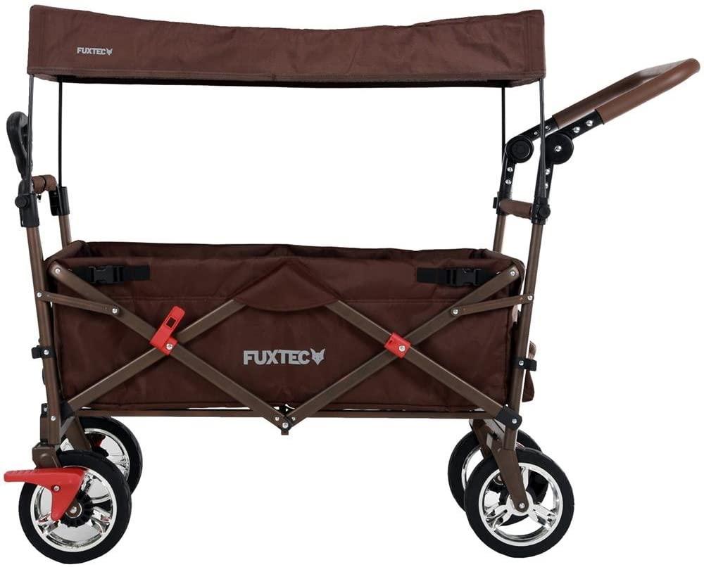 FUXTEC 'FX-CT700' Bollerwagen in Braun, inkl. Feststellbremse, Sonnendach, Zugstange, höhenverstellbarer Griff und gepolsterte Bodeneinlage Bild 1