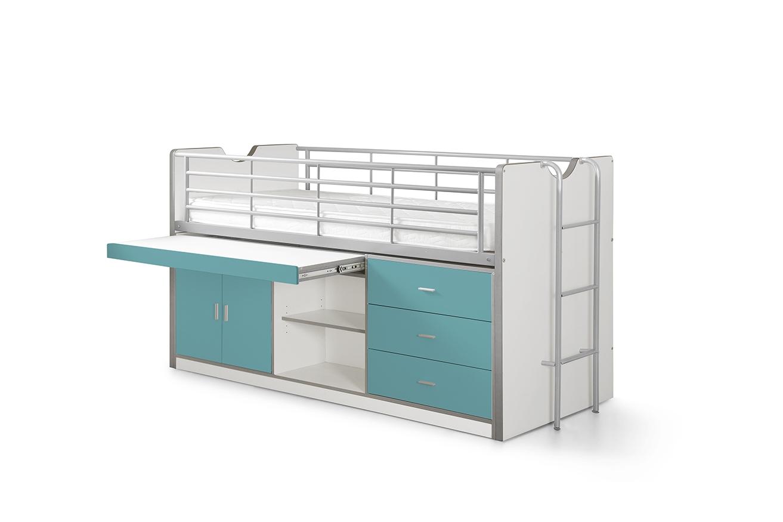 Vipack 'Bonny' Multifunktionsbett, weiß/türkis, 90x200 cm, mit Schubladen und Schreibtisch Bild 1