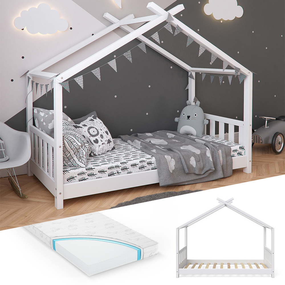 VitaliSpa 'Design' Hausbett 80 x 160 cm, Holz weiß, inkl. Lattenrost und Matratze Bild 1