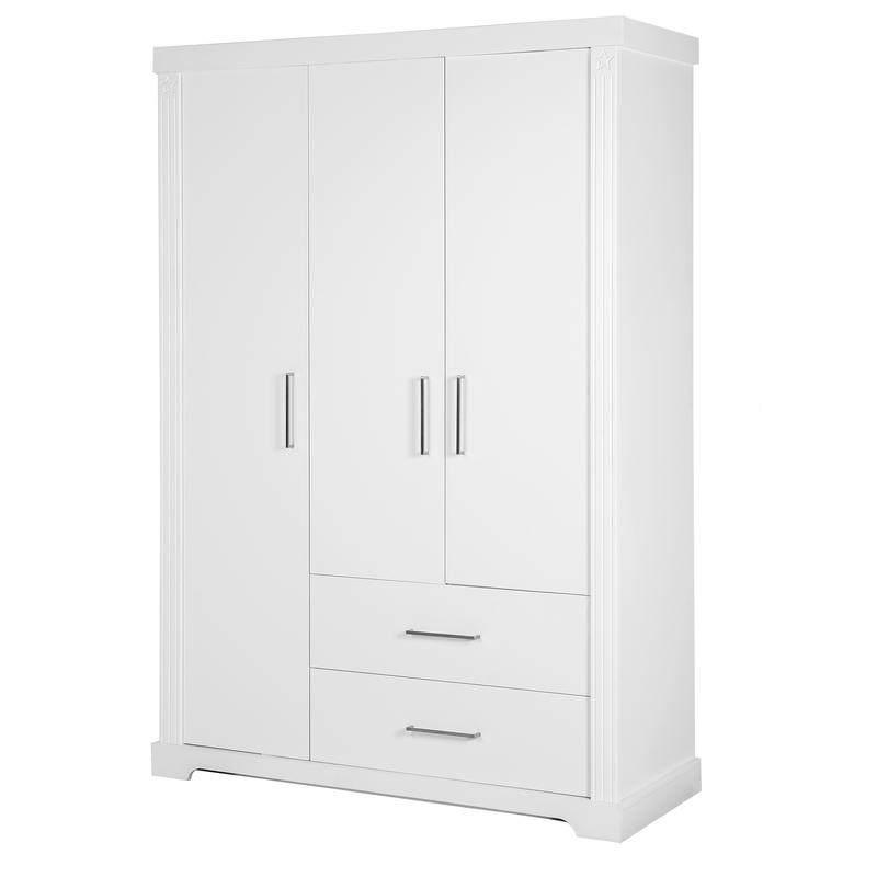 Roba 'Maxi' 3-trg. Kleiderschrank, weiß, mit Kleiderstange, 2 Schubladen und 6 Ablagefächern Bild 1