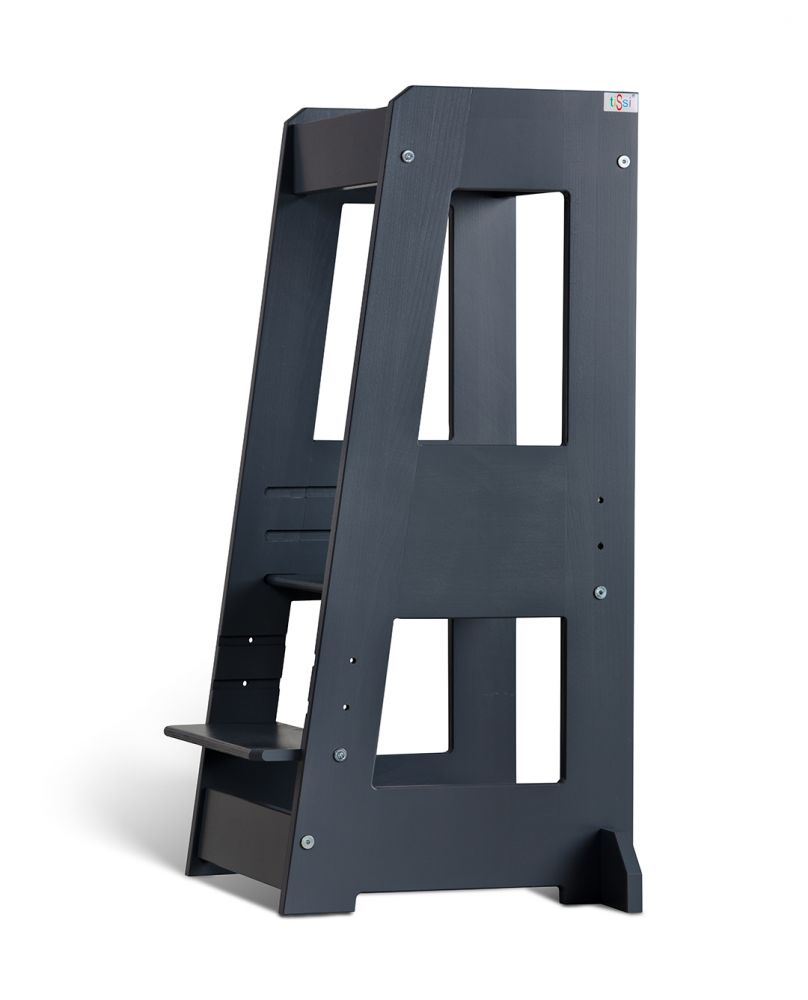 tiSsi 'Felix' Lernturm, Tritt 3-fach höhenverstellbar, Buche grau, Massivholz Bild 1