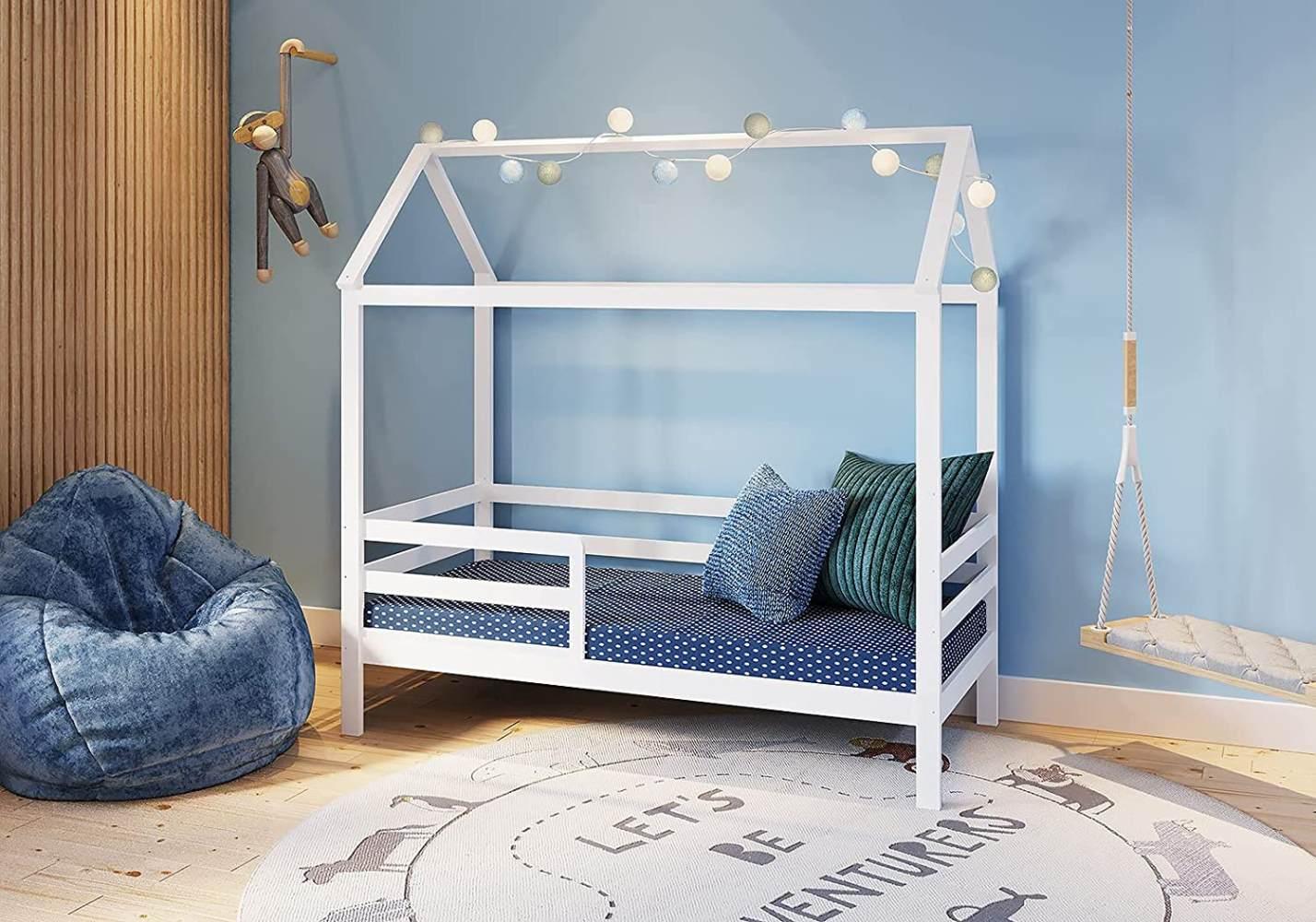 FabiMax 'Schlummerhaus' Kinderbett, 80 x 160 cm, weiß, Kiefer massiv, mit Matratze Classic Bild 1