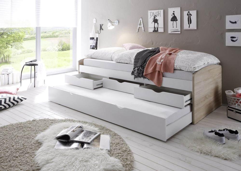 Bega 'Clara' Funktionsbett 90 x 200 cm, braun weiß, inkl. ausziehbarer Gästeliege, 3 Schubladen, Lattenrost Bild 1