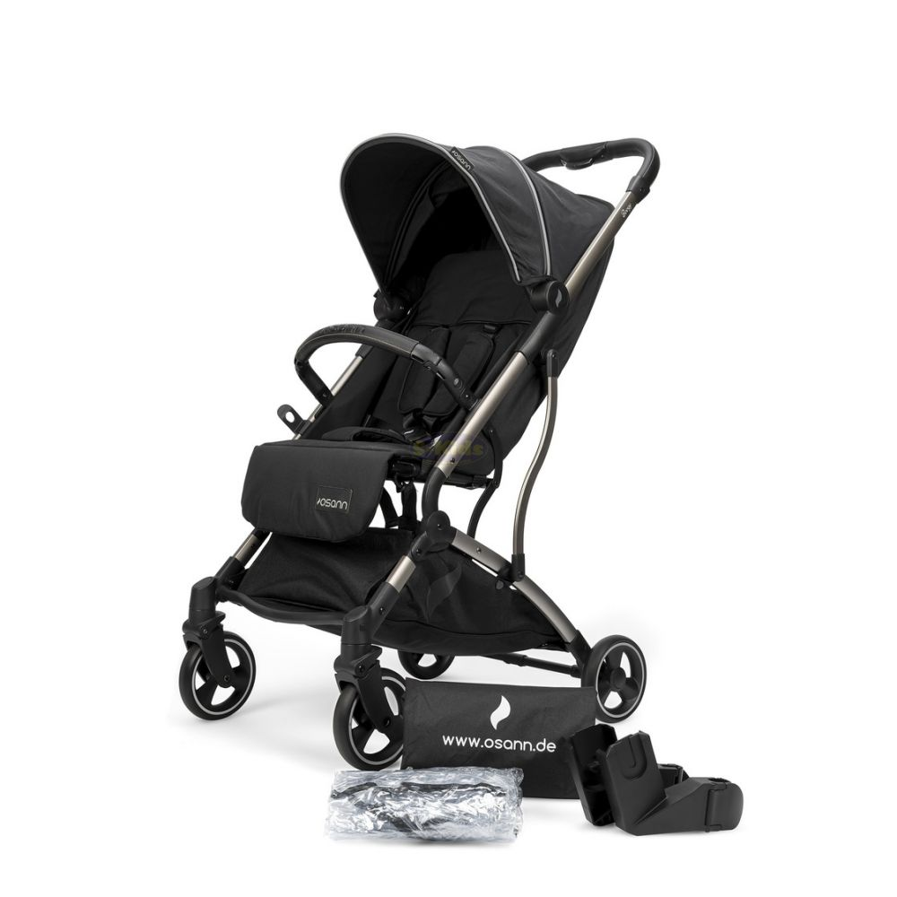 Osann 'Boogy' Buggy Black, inkl. Regenverdeck, Transporttasche und Babyschalen Adapter Bild 1