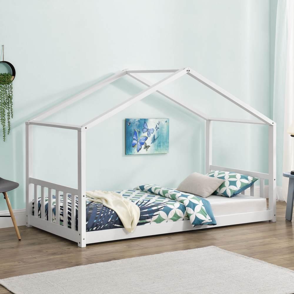 Juskys 'Paulina' Hausbett 90 x 200 cm, weiß, mit Lattenrost, Kiefer massiv Bild 1