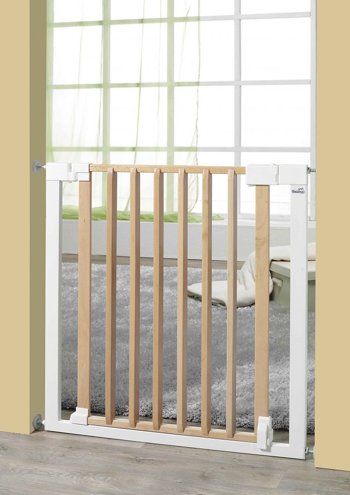 Geuther 'Vario Safe' Türschutzgitter, für Türbreiten 74,5 - 82,5 cm, Klemmbefestigung, Metall/Holz, Weiß/Natur Bild 1