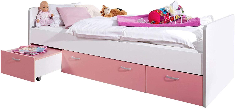 Stauraumbett Bonny Weiß/Pink 90x200 Bild 1