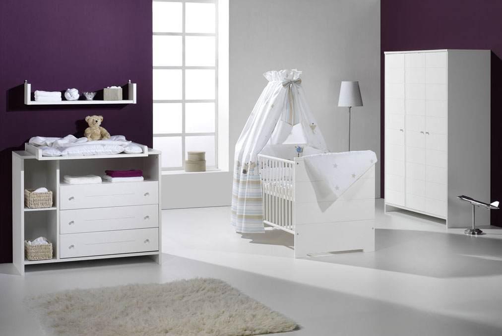 Schardt 'Eco Stripe' 3-tlg. Babyzimmer-Set Kinderbett, Wickelkommode und Schrank 3-türig Bild 1