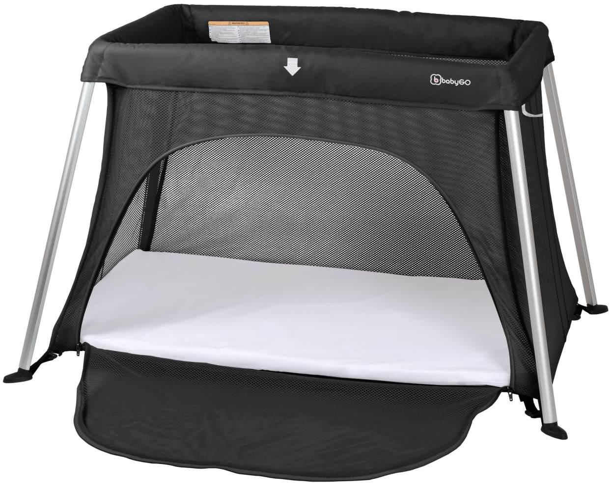 BabyGO 'Dreams' Reisebett, schwarz, zwei Liegehöhen, inkl. Matratzen 60x100 und 50x80 cm Bild 1