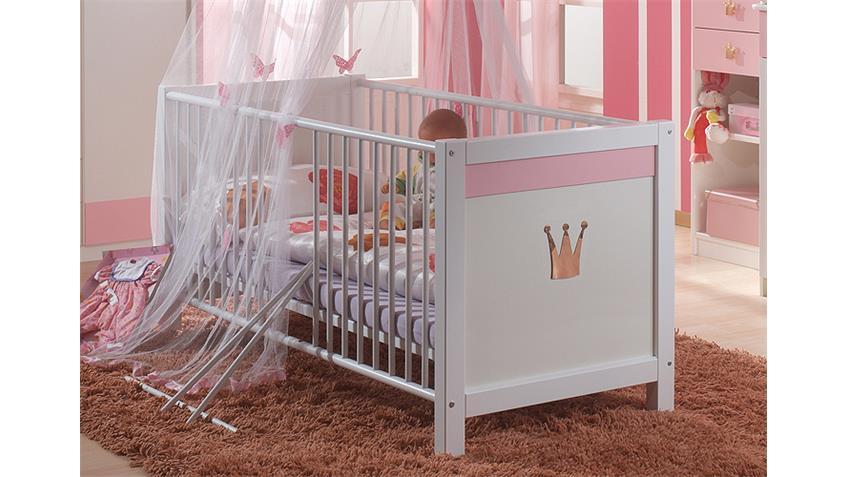 Wimex Babybett 304224 Cindy, Weiß, Abs. Rosé Bild 1