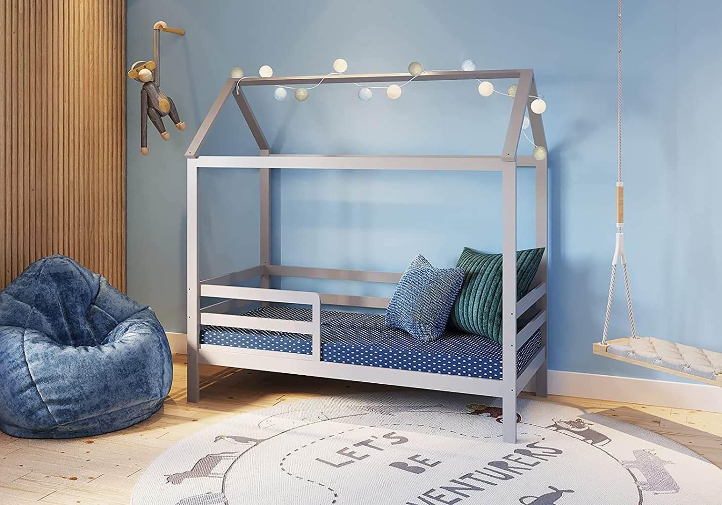 FabiMax 'Schlummerhaus' Kinderbett, 80 x 160 cm, grau, Kiefer massiv, mit Matratze Comfort Bild 1