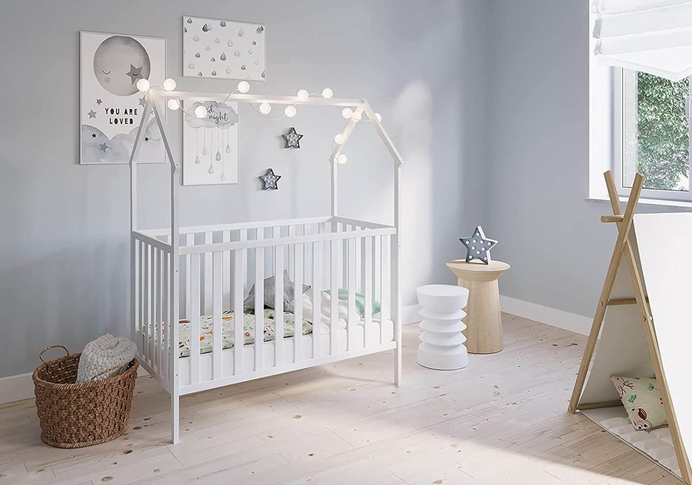 FabiMax 'Schlafmütze' Kinderbett, 60 x 120 cm, weiß, mit Matratze Classic, Kiefer massiv, 3-fach höhenverstellbar, umbaubar Bild 1