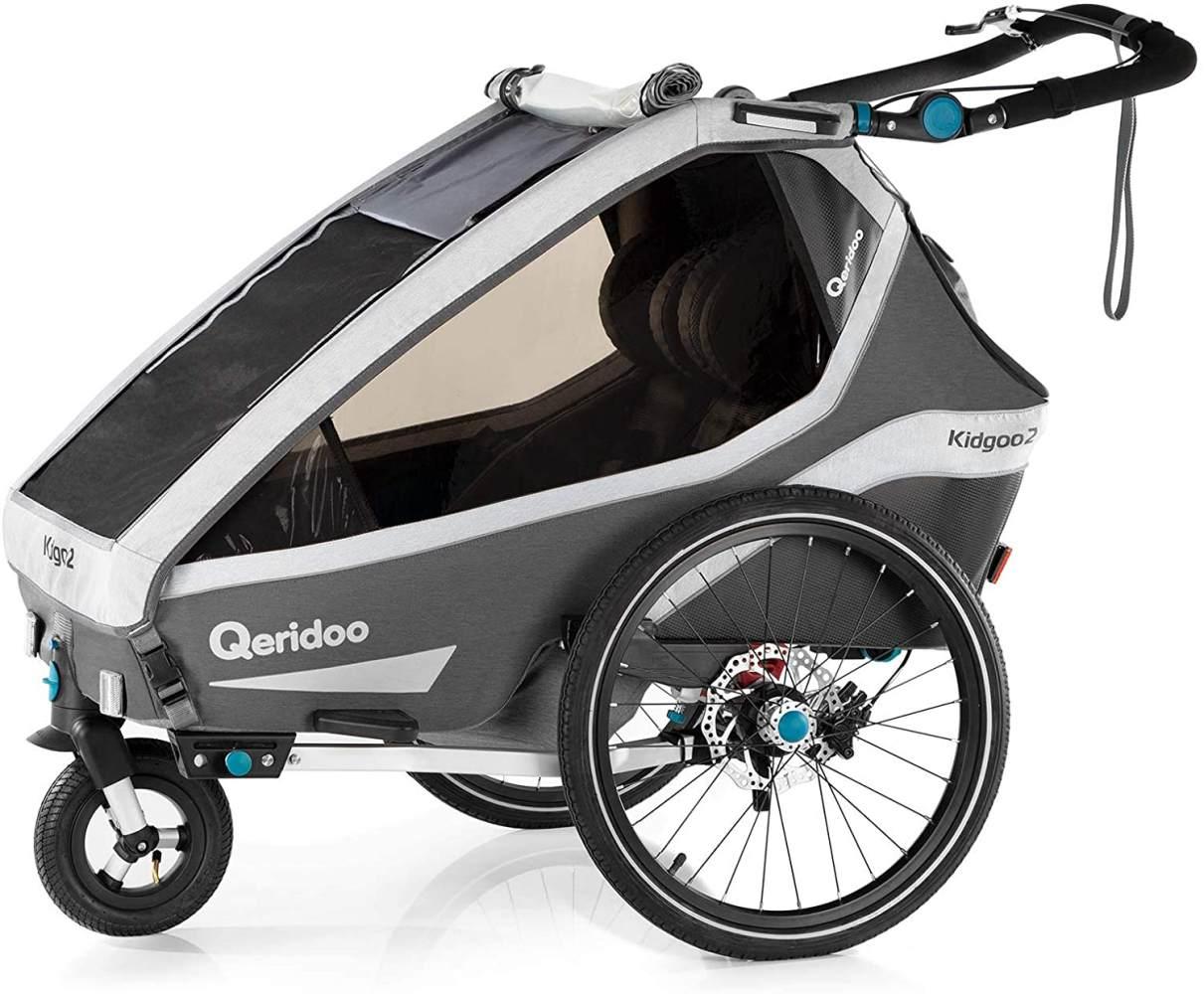 Qeridoo 'Kidgoo2 Sport' Fahrradanhänger 2020 Grau, 2-Sitzer, inkl. luftbereiftes Buggyrad Bild 1