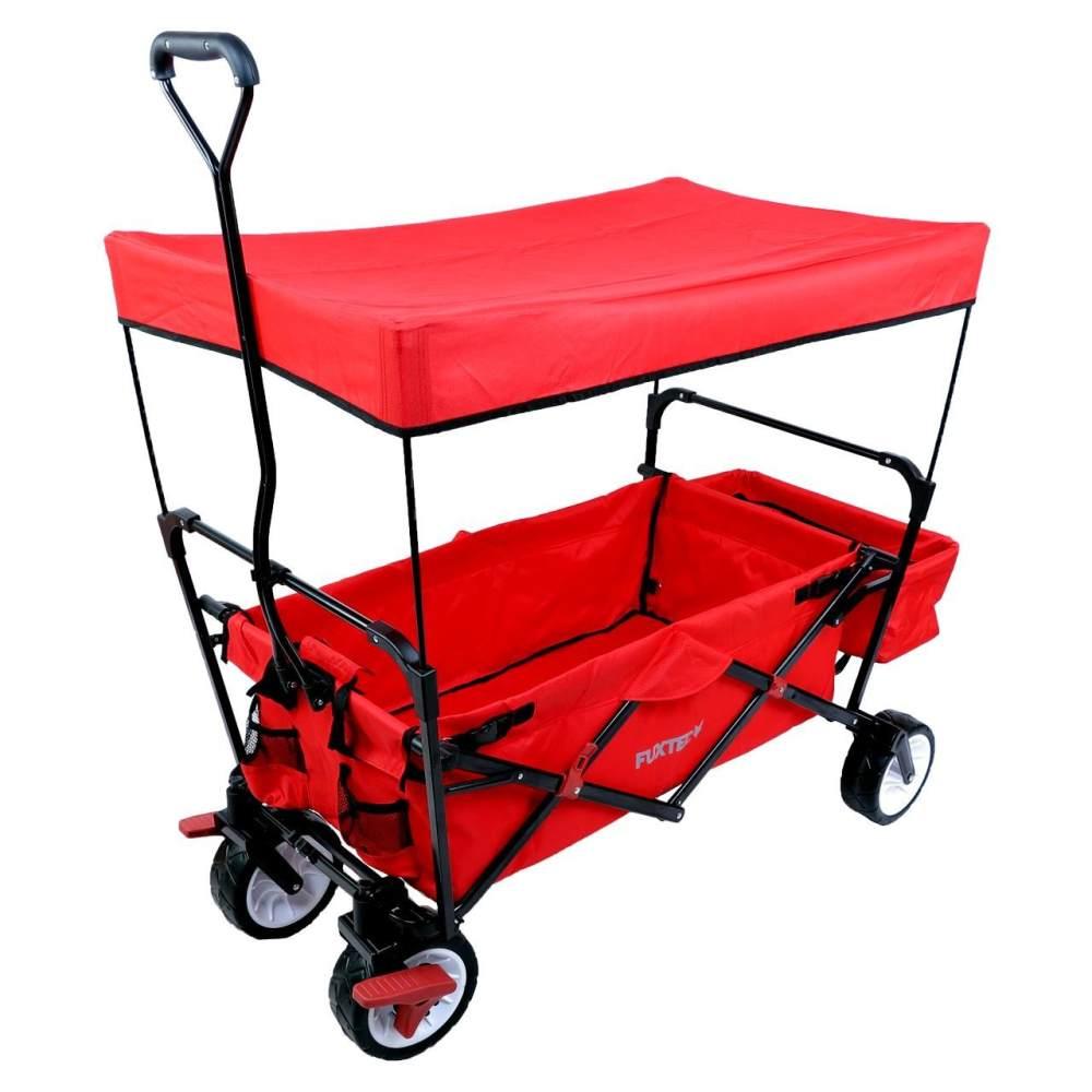 FUXTEC 'FX-CT350' Bollerwagen in Rot, inkl. Bremse, Sonnendach und Hecktasche Bild 1