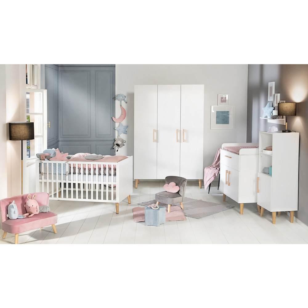 Roba 'Mick' 3-tlg. Kinderzimmerset, inkl. Kombi-Bett, Wickelkommode & 3-türigem Schrank, weiß/Goldeiche Bild 1