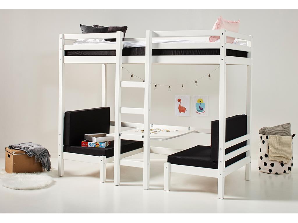 HOPPEKIDS Basic Etagenbett Jumbo in Weiß mitTisch gerader Leiter und Rollrost 90x200 cm 36-1040-82-09A Bild 1