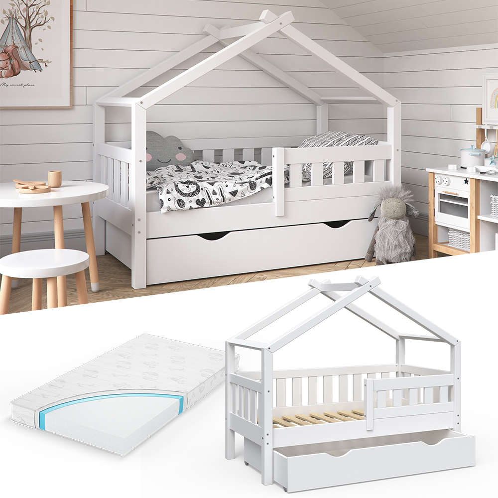 VitaliSpa 'Design' Kinderbett 70 x 140 cm, weiß, Massivholz Kiefer, inkl. Schublade und Matratze Bild 1
