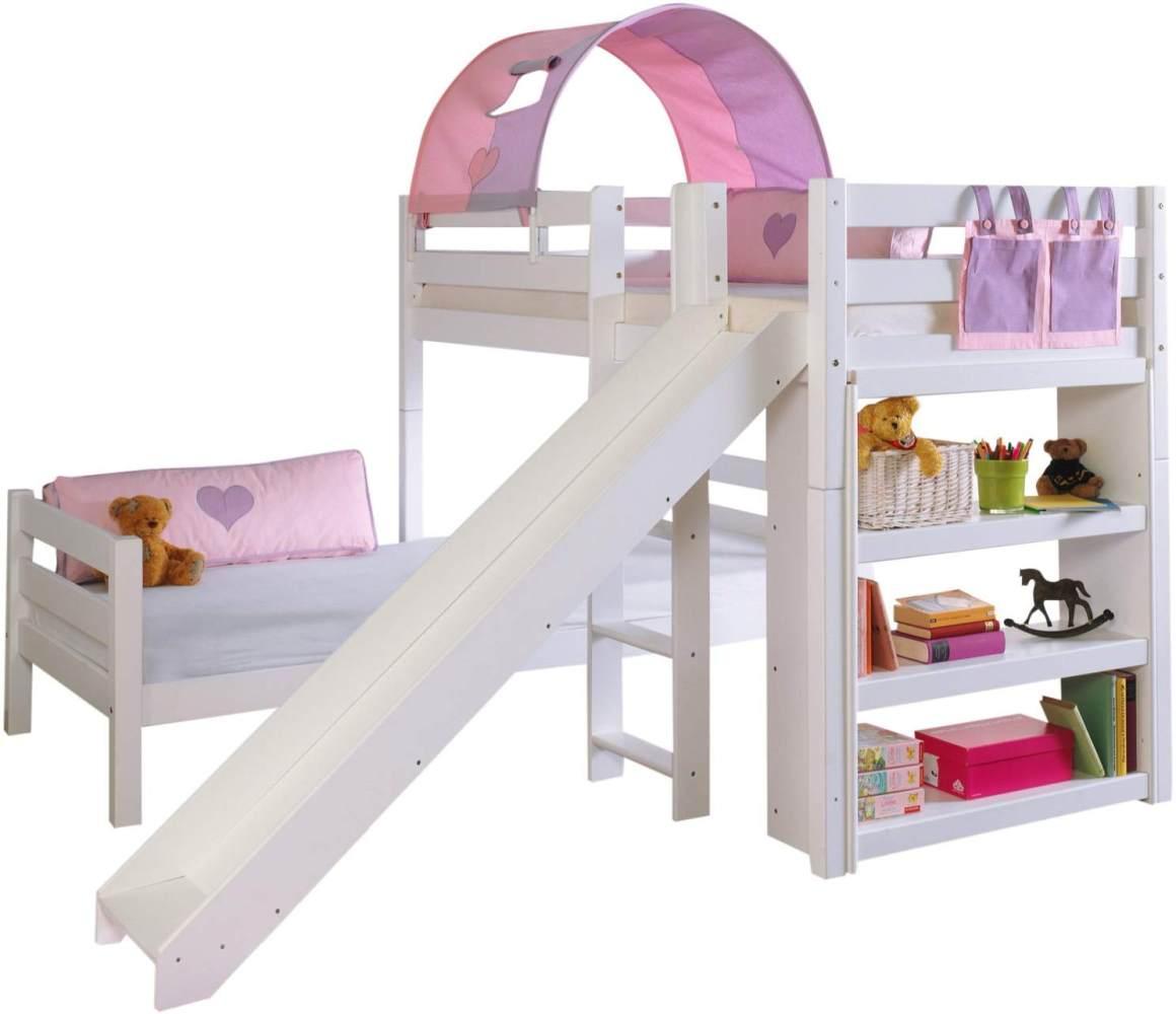 Relita 'BENI L' Etagenbett Buche massiv weiß lackiert, 2 Liegeflächen über Eck, mit 1-er Tunnel u. Tasche purple/rosa/herz Bild 1
