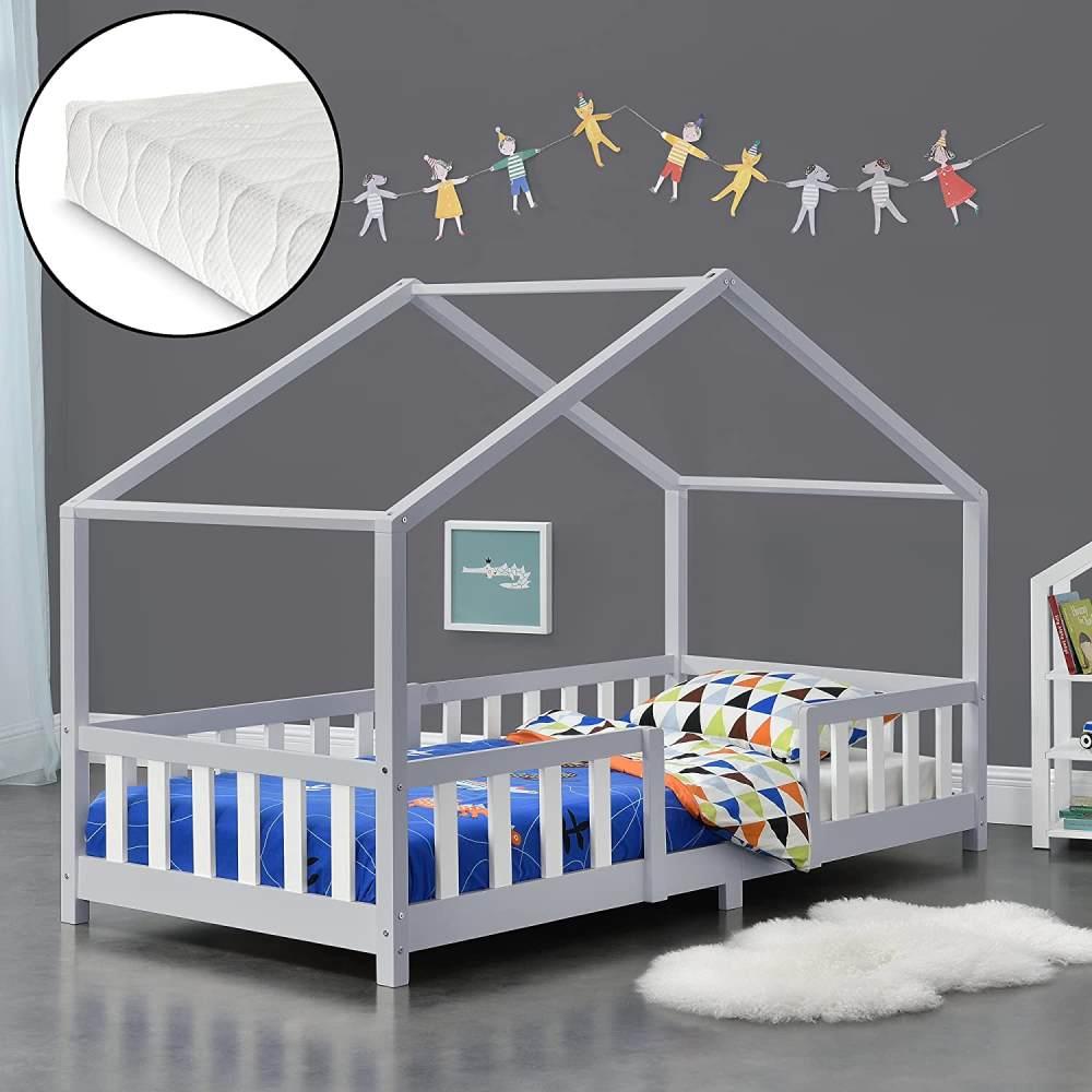 en.casa 'Treviolo' Hausbett 90x200 cm, grau/weiß, Kiefernholz, mit Matratze, Lattenrost und Rausfallschutz Bild 1