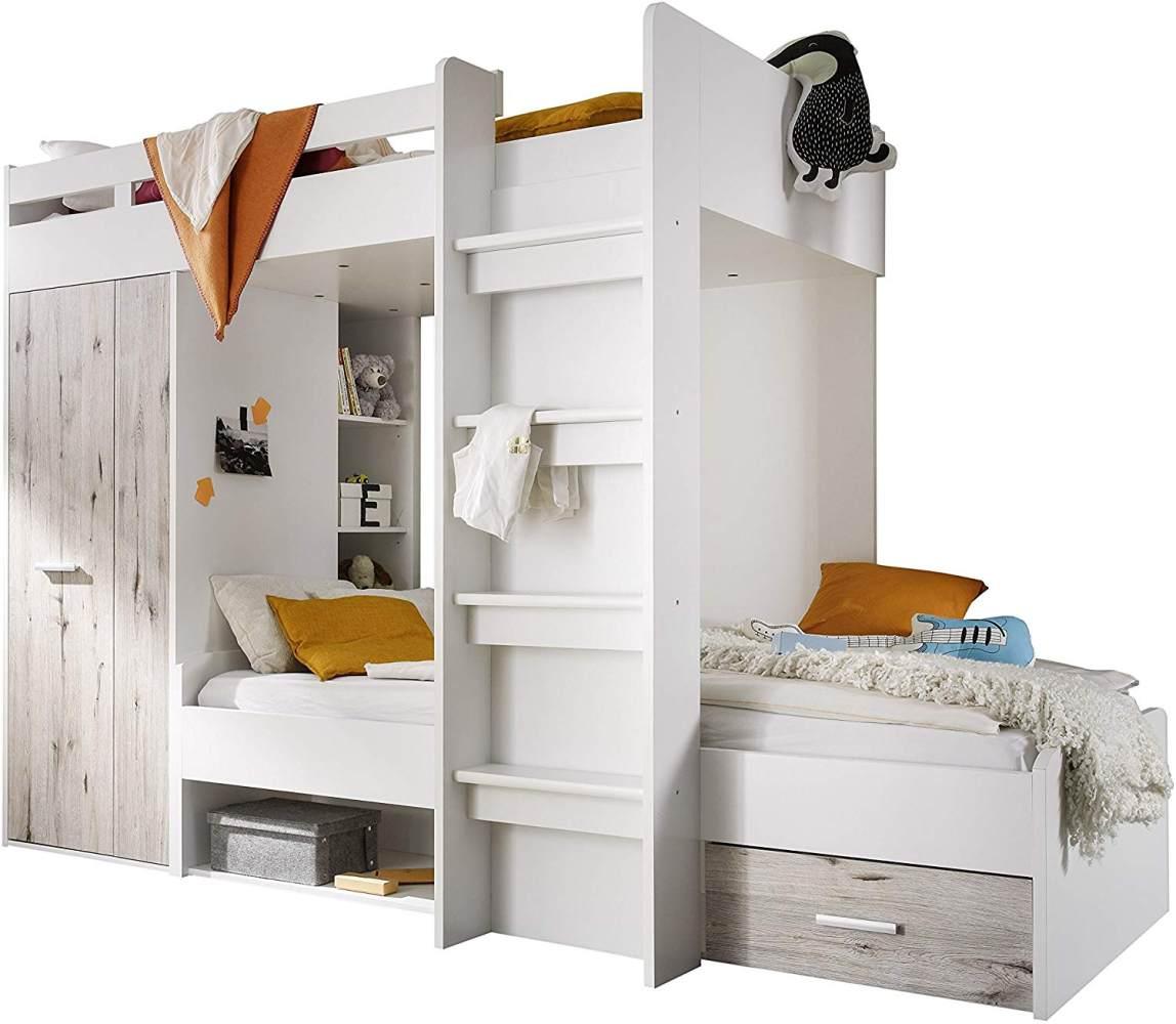 Bega 'Maxi' Funktions-Etagenbett weiß/sandeiche, inkl. Stufen, Kleiderschrank und Bettkasten Bild 1