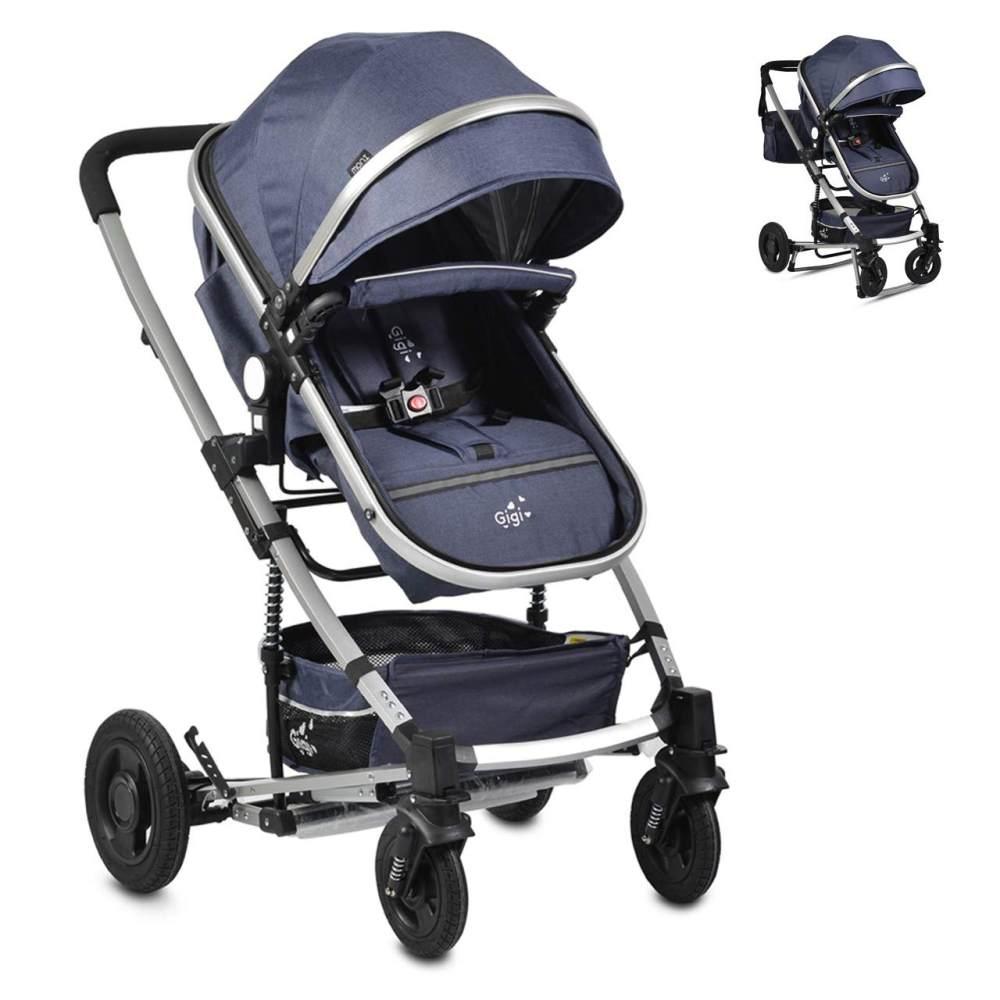 Moni Kinderwagen Gigi Schaukelfunktion Babywanne Sportsitz Wickeltasche faltbar blau Bild 1