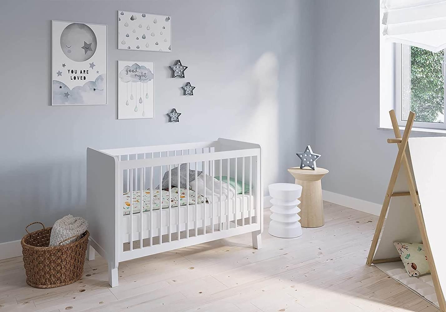 FabiMax 'Nachteule' Kinderbett, 60 x 120 cm, weiß, Kiefer massiv, 3-fach höhenverstellbar, umbaubar, mit Matratze Comfort Bild 1